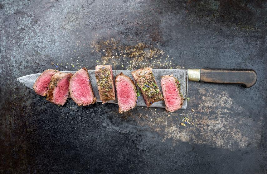 Venison meat cut up